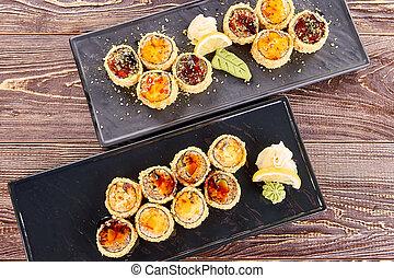 furay, sushi, sommet, juteux, deux, plaques, vue., unagi