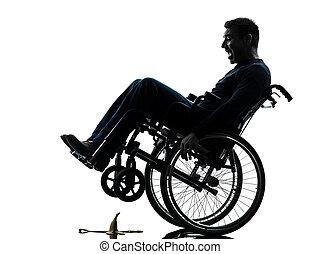 Silhouette Rollstuhl Behindertes Ernst Mann