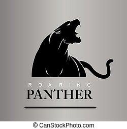 furchtlos, brüllen, raubtier, panther.