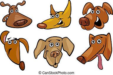 furcsa, állhatatos, gazdag koncentrátum, karikatúra, kutyák