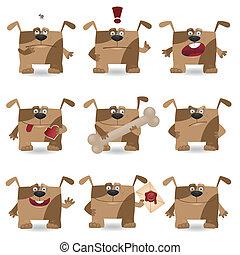 furcsa, állhatatos, karikatúra, kutya