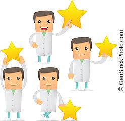 furcsa, állhatatos, karikatúra, orvos