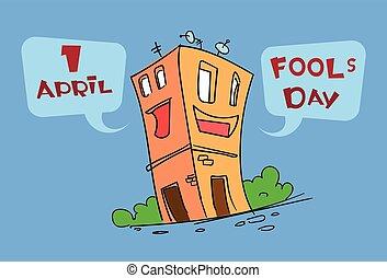 furcsa, épület, épület, karikatúra, betű, becsap, nap, április, ünnep, köszönés kártya
