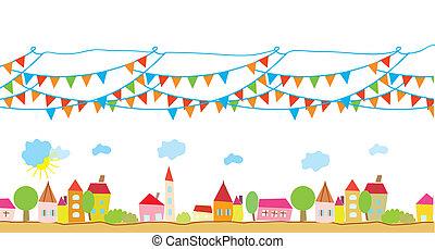 furcsa, épület, és, zászlók, háttér, helyett, gyerekek