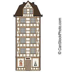 furcsa, épület, karikatúra, ábra, ve