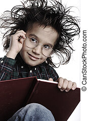 furcsa, írás, haj, szemüveg, nerd, furfangos, kölyök