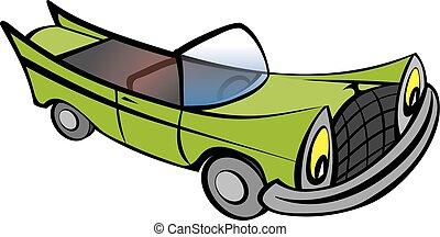 furcsa, öreg, karikatúra, autó