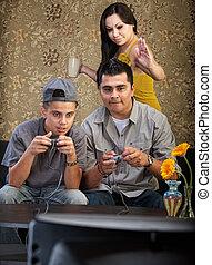 furcsa, család, spanyol, video játék, játék