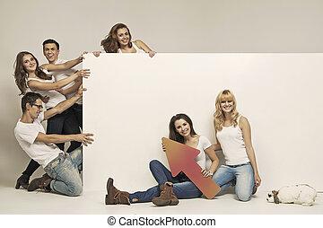 furcsa emberek, fénykép, vontatás, bizottság, fehér