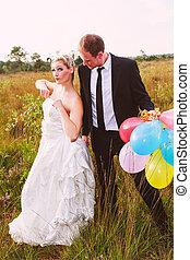 furcsa, esküvő párosít, noha, léggömb