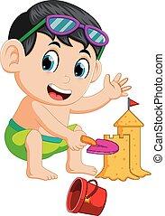 furcsa, fiú, sandcastle, nagy, gyártás, tengerpart
