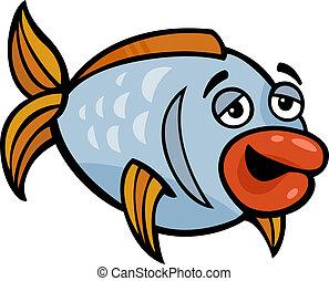 furcsa, fish, karikatúra, ábra