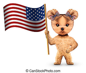 furcsa, fogalom, usa, flag., kutya, 4, birtok, július
