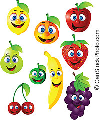furcsa, gyümölcs, betű, karikatúra
