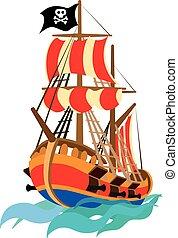 furcsa, hajó, kalóz