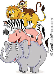 furcsa, karikatúra, állat