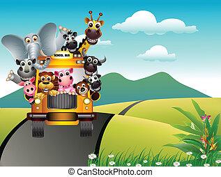 furcsa, karikatúra, állat, sárga autó