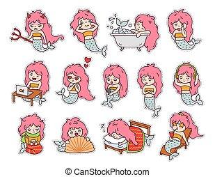 furcsa, kevés, állhatatos, nagy, mermaids., böllér, emoji