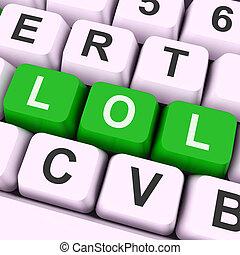furcsa, kulcs, erőforrások, lol, nevető, nevet, hangos, vagy, ki