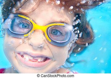 furcsa, leány, védőszemüveg, gyerekek, víz alatti