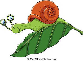 furcsa, levél növényen, karikatúra, csiga