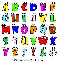 furcsa, mód, állhatatos, irodalomtudomány, abc, ábra, sokszínű, vektor, betűk, karikatúra