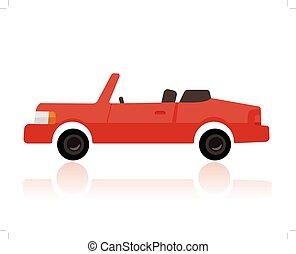 furcsa, mód, autó, átváltható, karikatúra, piros