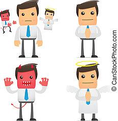 furcsa, menedzser, állhatatos, karikatúra