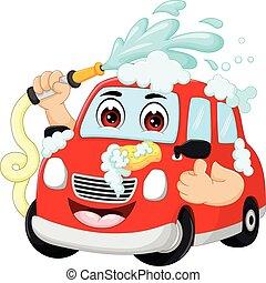 furcsa, mosás, lapozgat, autó, feláll, mosoly, karikatúra
