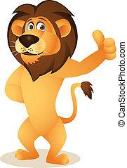 furcsa, oroszlán, karikatúra