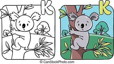 furcsa, színezés, abc, k, könyv, koala.