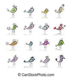 furcsa, tervezés, madarak, gyűjtés, -e