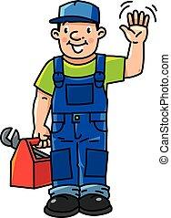 furcsa, vízvezeték szerelő, repairman, vagy, eszközök