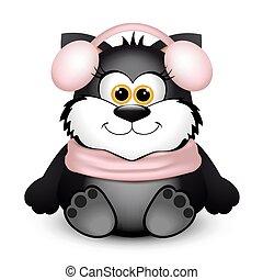 furcsa, valentines, macska, day., háttér., fekete, fehér