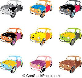 furcsa, vektor, színezett, elszigetelt, autók