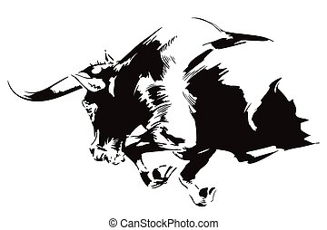 furente, attacking., toro, illustration., casato