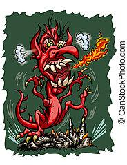 fureur, détruire, dragon, ville