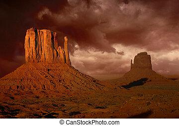fureur, vallée, arizona, natures, monument