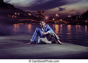 furfangos, bábu ül, közeli, a, folyó