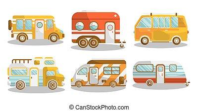furgão, acampamento, autocarro, campista, ilustração, ...