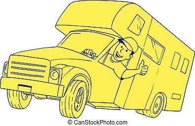 furgão, campista, motorista, cima, polegares, caricatura