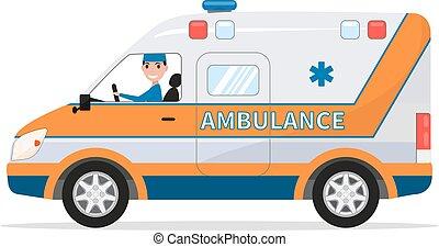 furgão, car, médico, motorista, vetorial, caricatura, homem
