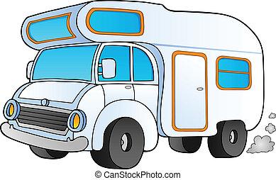 furgão, caricatura, acampamento