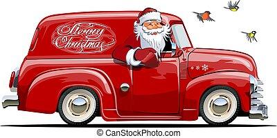 furgão, claus, caricatura, retro, santa, natal