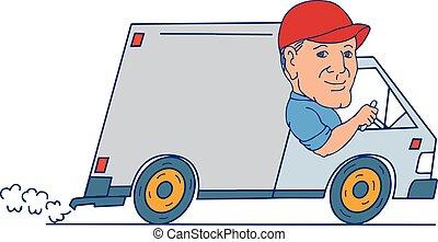 furgão, dirigindo, caminhão entrega, caricatura, homem