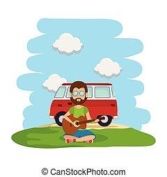 furgão, guitarra, hippy, tocando, paisagem, homem