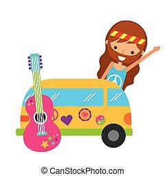 furgão, hippie, car, guitarra, caricatura, homem
