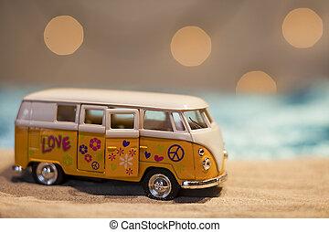 furgão, hippie, paz, sinal amarelo, praia, arenoso