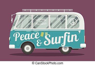 furgão, hippie, surfistas