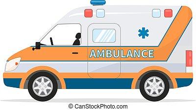 furgão, médico, veículo, vetorial, car, ambulância, caricatura